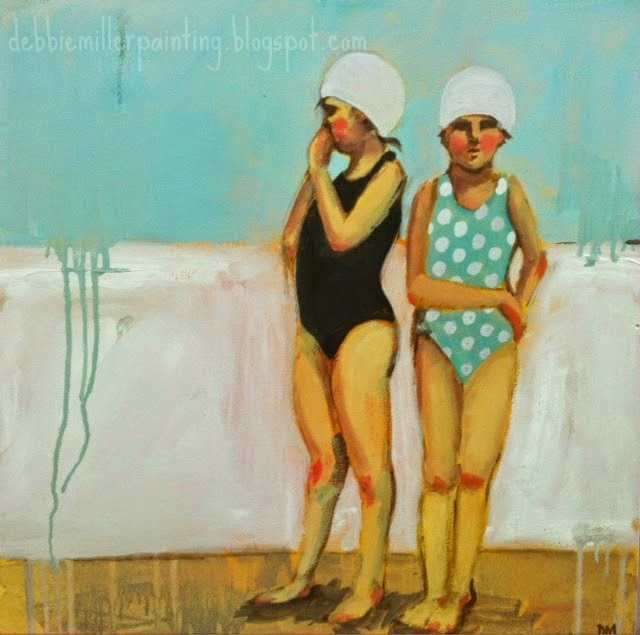 painting of two girls in bating suits and bathing caps, swimmers, figurative art