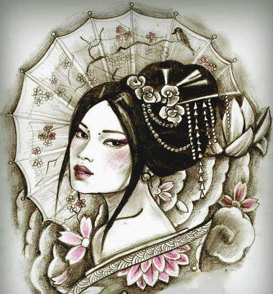 Geisha girl tattoo designs photos for girls