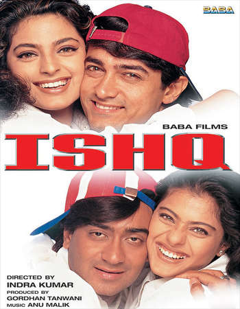 Poster Of Ishq 1997 Hindi 500MB HDRip 480p Free Download Watch Online