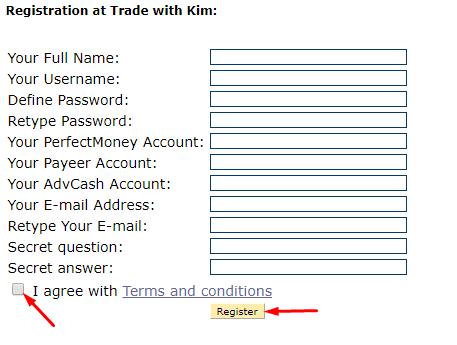 Регистрация в Trade with Kim 2