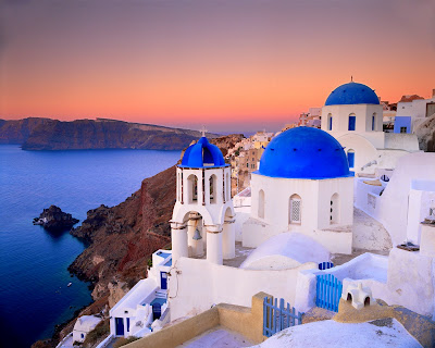 Romantic Picture of Greek Island Santorini at Sunset