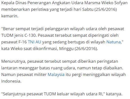 Setelah China Kini Malaysia Nekat Terobos Kawasan Natuna Dengan Menggunakan Pesawat Hercules, Dan TNI AU Berhasil Menyergap Pesawat Mereka Dengan Menggunakan Pesawat Jet Tempur F-16 - Commando