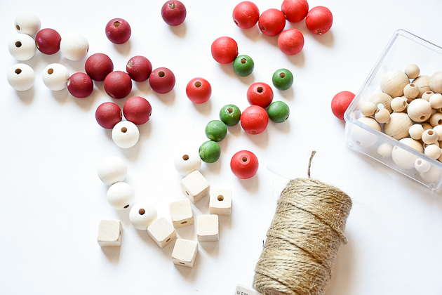 wood bead garland, christmas, christmas decor, garland, painted beads for wood bead garland