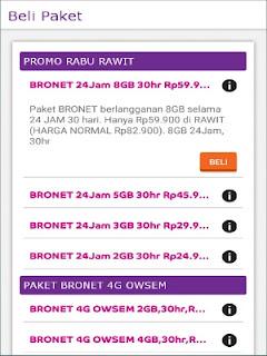 Membeli paket internet melalui aplikasi axisnet