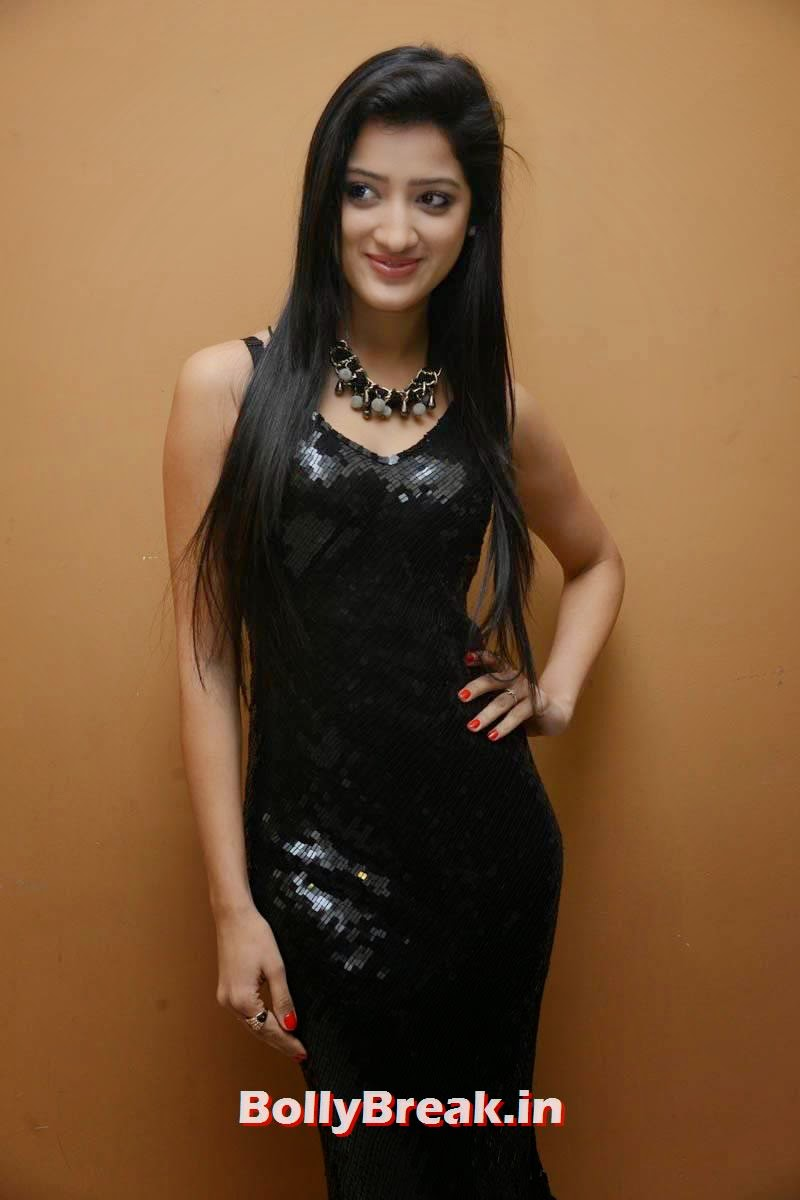 Richa Panai Pictures, Richa Panai Hot Hd Pics in Shiny Black Short Dress