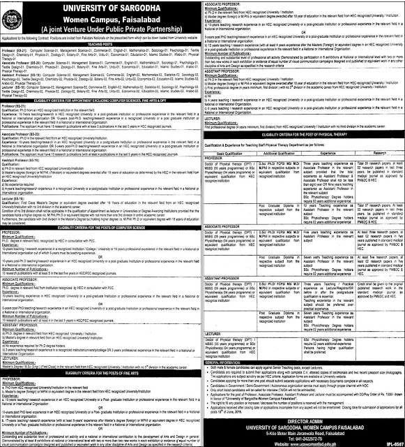 Teaching Jobs in Pakistan University of Sargodha Faisalabad Campus