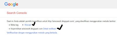 cara verifikasi webmaster