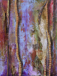 purple, copper, green, textural abstract painting.