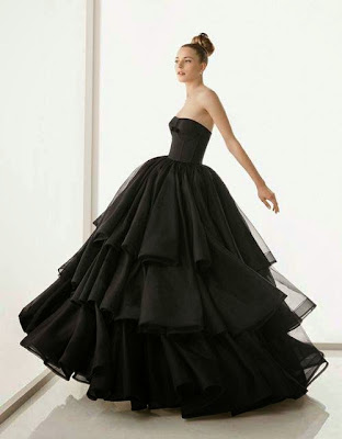 black ruffled wedding dress