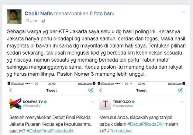 Kyai Cholil: Paslon Nomor 3 Memang Lebih Unggul, Jakarta Butuh Pemimpin Yang Santun Cerdas dan Tegas