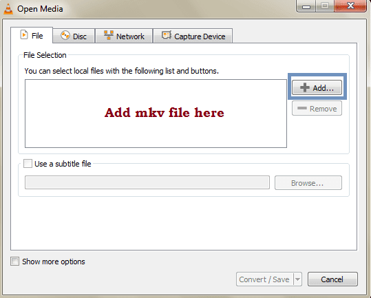 Add MKV file