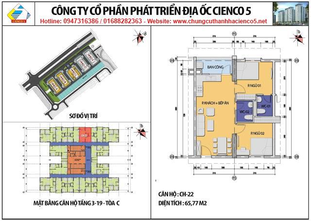 Sơ đồ thiết kế căn 22 chung cư B2.1 HH02C Thanh Hà Cienco 5