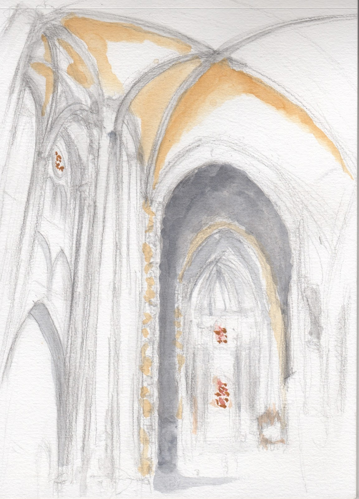 Finally after having a group lunch at a nearby italian restaurant we all went back to sketch some more of this beautiful cathedral