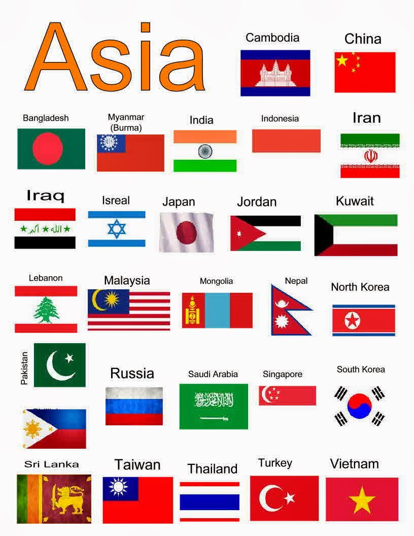 Beneath the Wraps: Learning Geography part 2: South ...Flags Of Asia With Names