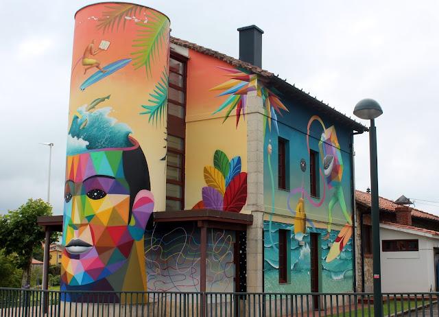 Fresh Wall Somo. Obra de Okuda y Waone en Somo. Arte urbano en Ribamontán al Mar.