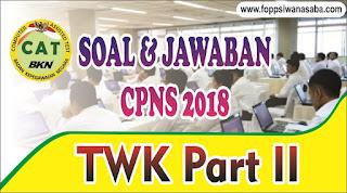 Contoh Soal dan Jawaban TWK Bagian 2 CPNS 2018