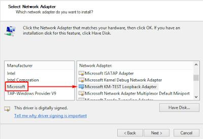 Memilih Network Adapter