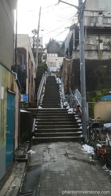 Actual location: as in the game, these steps are at the end of an alley off Dobuita Street (although in real life they lead to a kindergarten).