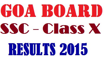 Goa Board SSC 10th Class Results 2015