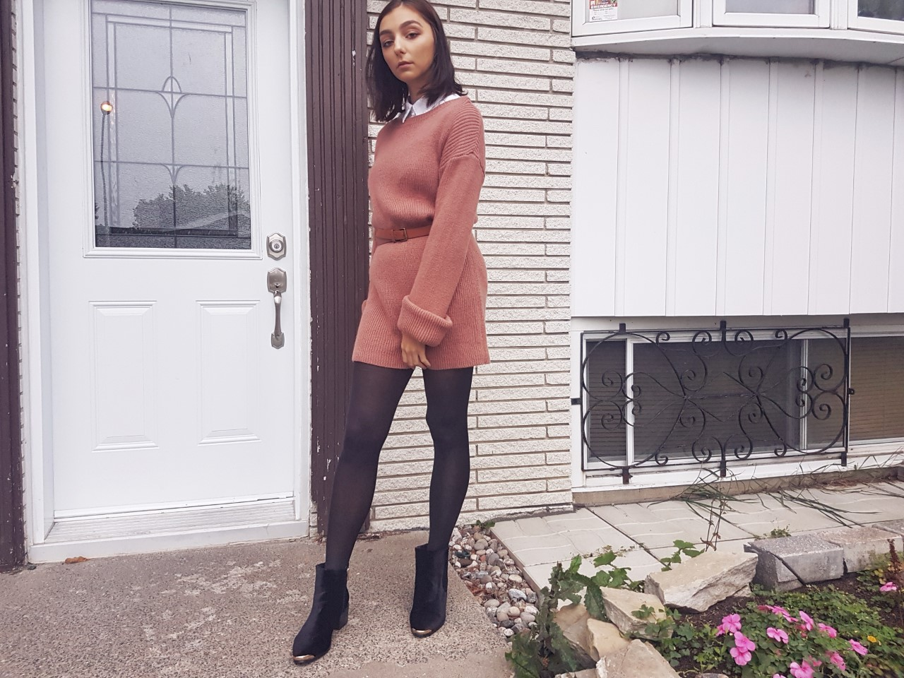 fashion, ootd, blush, beauty, makeup, smokey eye, Tobi, HM, sweater dress, fall style, fall fashion, on trend,