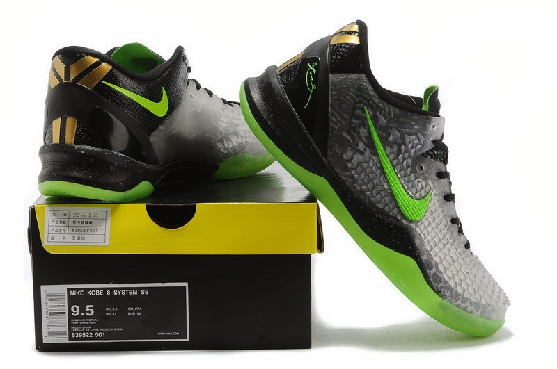 online retailer 434f8 695af ... Kobe 8 is updated with an eye-popping three-dimensional snakeskin  scaling, done in a translucent style that pops against the black upper and neon  green ...