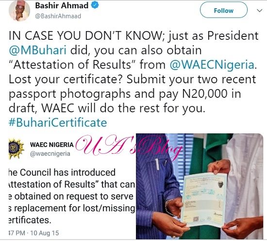 REVEALED: The Amount Buhari Paid To Obtain New Certificate From WAEC