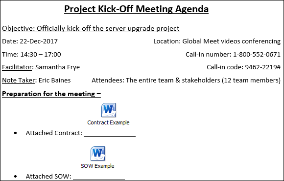 Kick Off Meeting Agenda Template