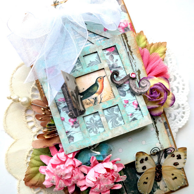Chipboard and Patterned Paper Window that Opens on a Spring Floral Tag by Dana Tatar for FabScraps - Shabby Rose Collection