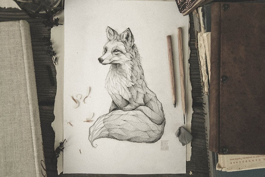 02-The-Fox-Mike-Koubou-Stylized-Sketchbook-Animal-Pencil-Drawings-www-designstack-co