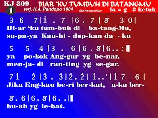 Lirik dan Not Kidung Jemaat 309 Biar 'Ku Tumbuh Di BatangMu