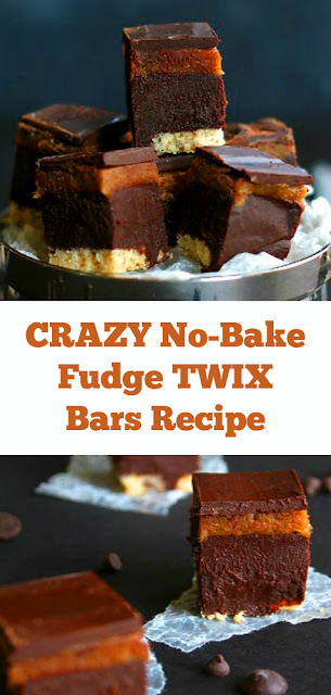CRAZY No-Bake Fudge TWIX Bars Recipe #fudge #bars #fudgebars #glutenfree #vegan #chocolate #nobake #healthydessert #dairyfree #caramel #candybars