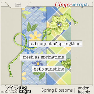 Creative Team, Annemarie, for GingerScraps –– LDrag Designs -  Spring Blossoms by LDragDesigns  and Coordinating Freebie and  Ginger Scraps April 2019 Inspiration Challenge