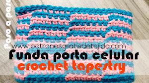 Cómo tejer una funda para celulares en crochet tapestry / Tutorial principiantes crochet