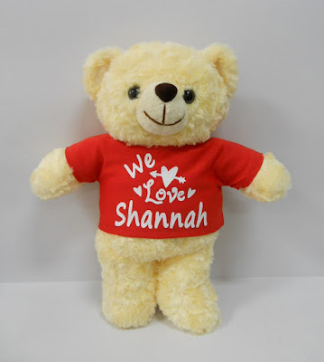 Personalized bear with shirt printed with name