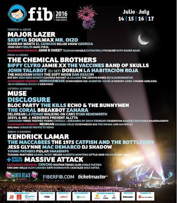 FIB, 2016, Festival, Música, Benicassim, cartel