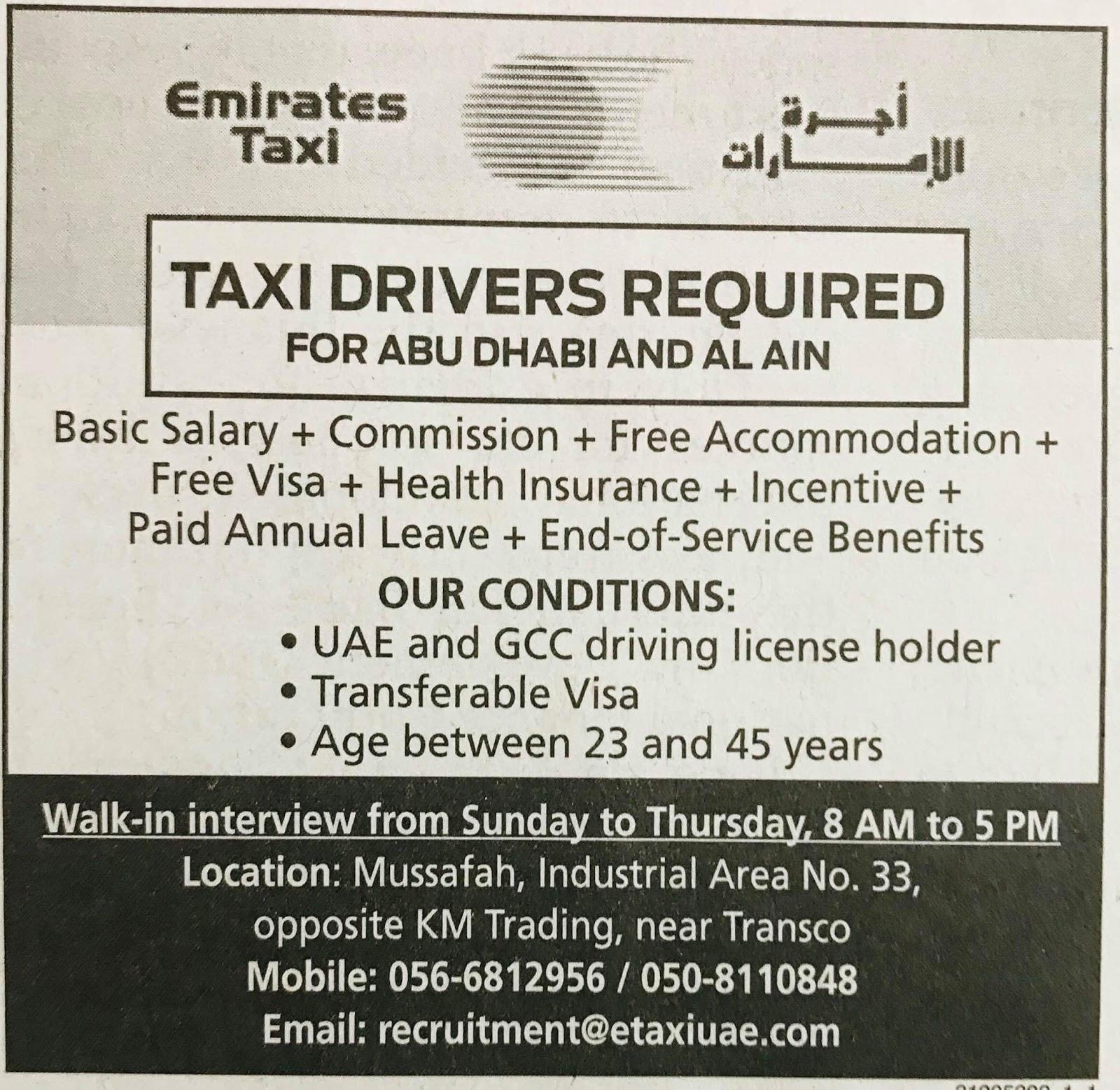 Required Taxi Drivers for UAE Local Hiring JOBS Khaleej