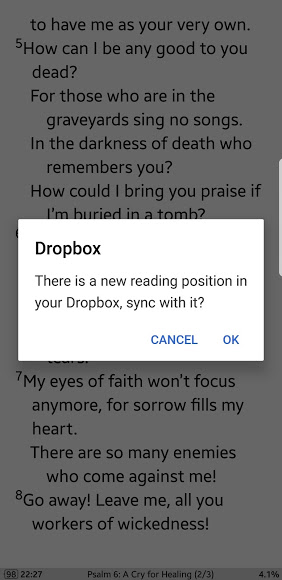 "Mobile screenshot: Very important - accepts ""sync new reading position"""