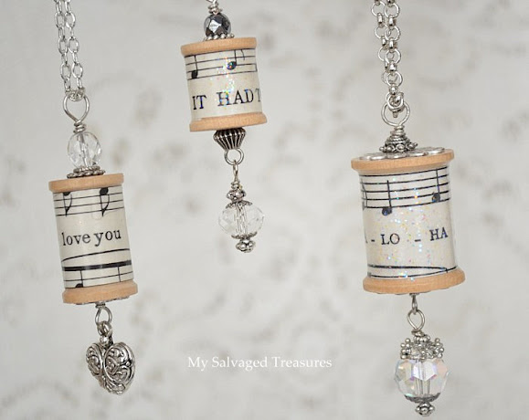 necklaces made from vintage sheet music and thread spools