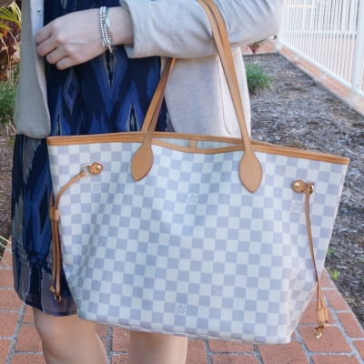 Aztec print dress, Louis Vuitton damier azur neverfull tote bag | away from the blue