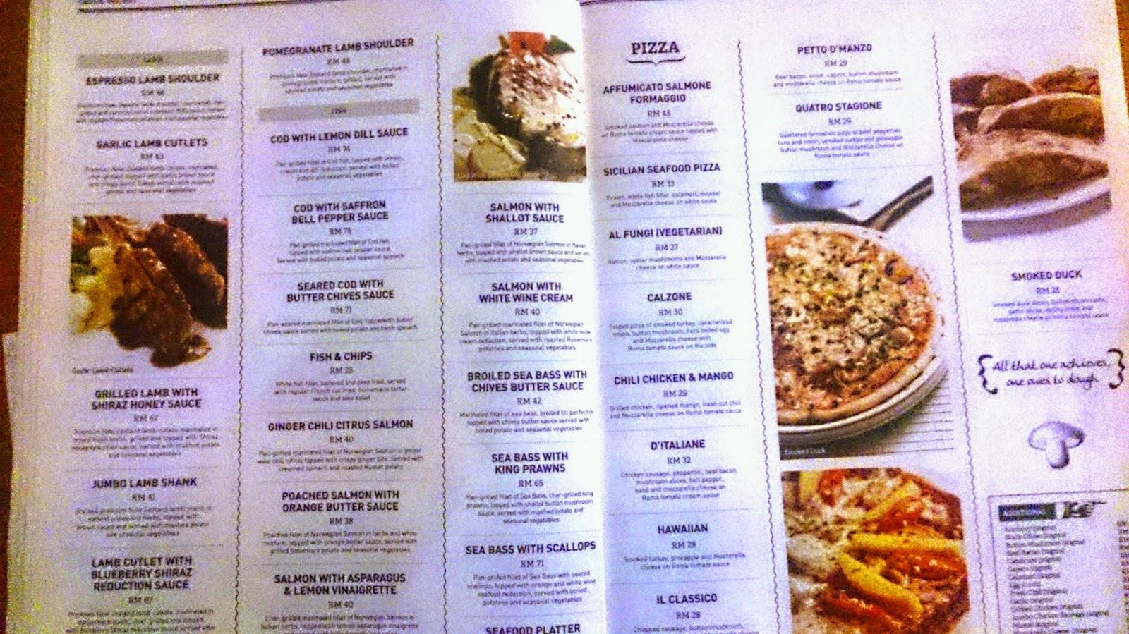 D Italian Kitchen Jaya 33 Menu Wetraff