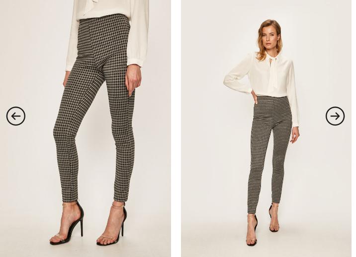 Pantaloni de femei negri cu carouri de zi si si birou ieftini eleganti
