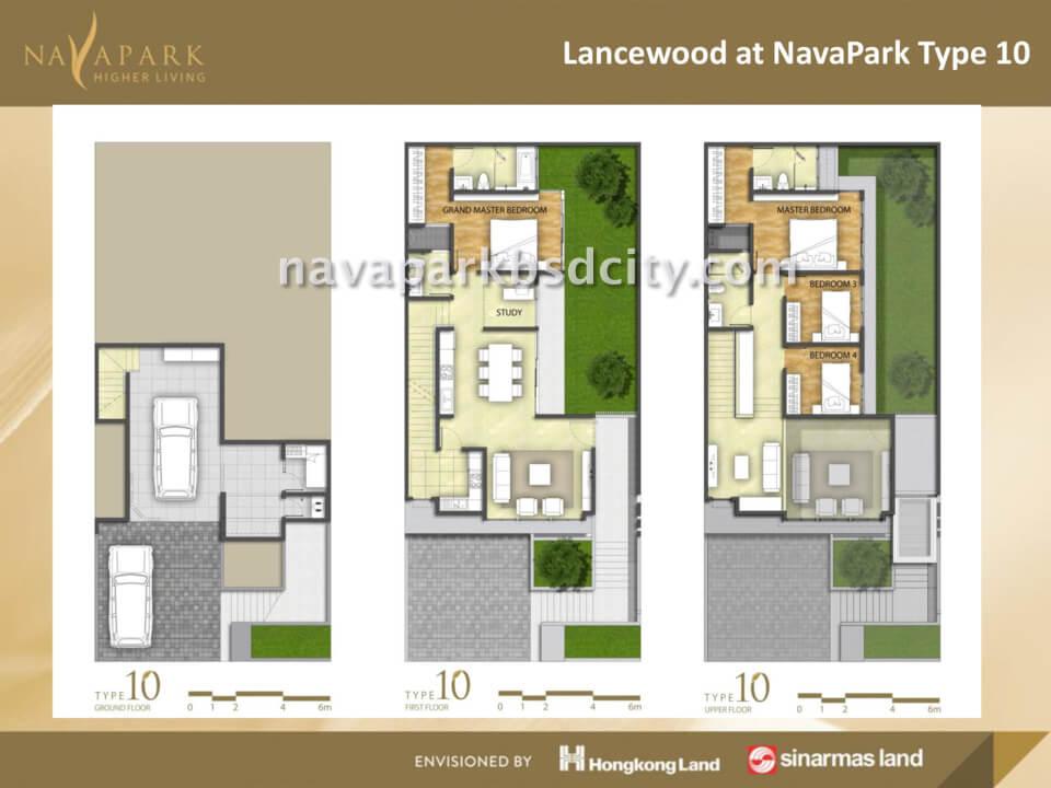 Denah Lantai Tipe 10 Lancewood Nava Park BSD