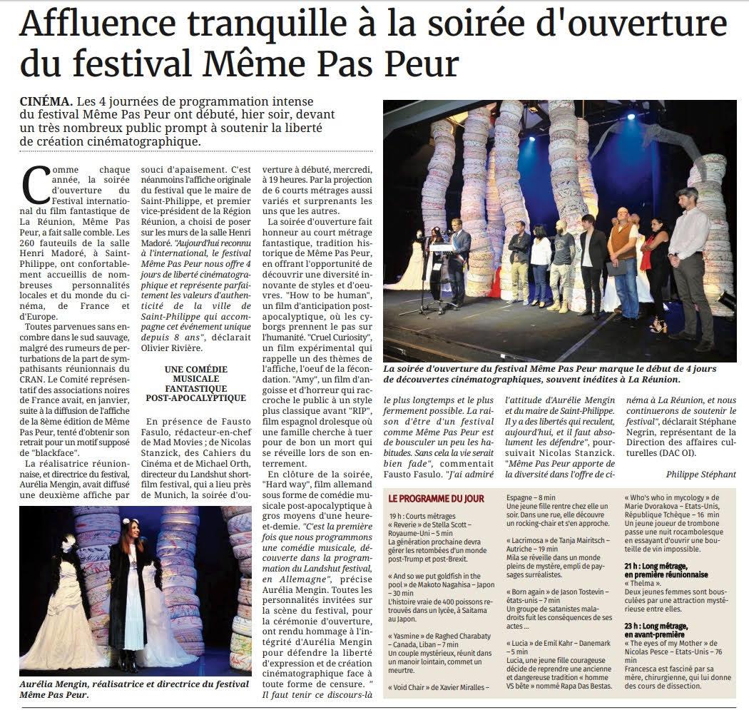 Le Festival MEME PAS PEUR dans le Journal de l'île de La Réunion