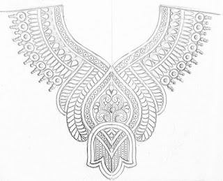 Easy process of hand embroidery and machine embroidery neck design drawing on tracing paper. Maggam work embroidery blouse necks design drawing on paper.