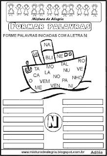 Formar palavras com a letra N