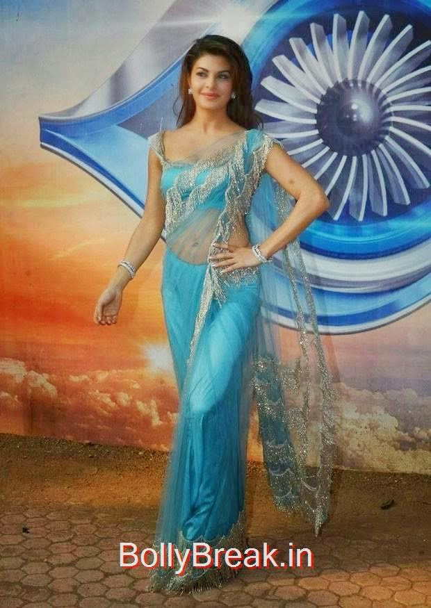 Jacqueline Fernandez Photos, Jacqueline Fernandez Hot Pics In Blue Saree from Roy Movie Promotions On Big Boss 8