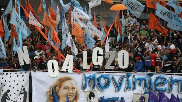 Argentinos se manifiestan contra la cumbre del G20 en su país