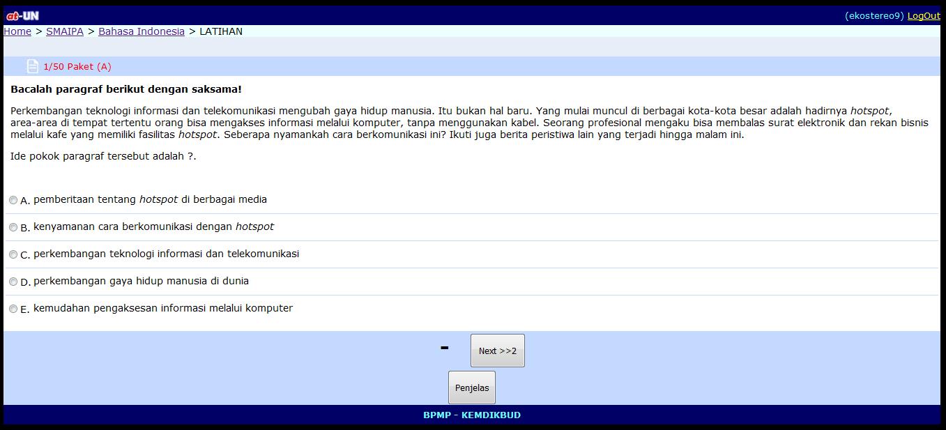 A T U N Aplikasi Try Out Ujian Nasional Bse