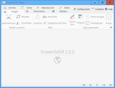 Grabar un área seleccionada de la pantalla y guardar como GIF