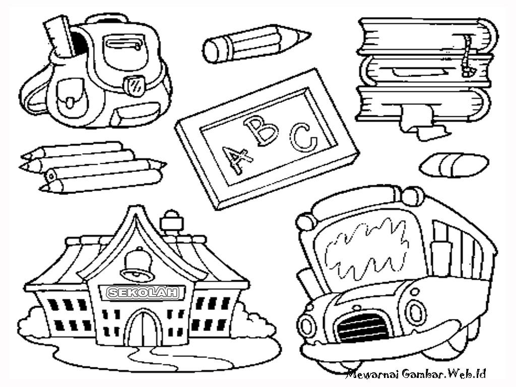 Daftar Mewarnai Gambar Peralatan Sekolah